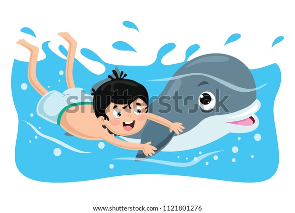 Vector Illustration Of Kid Swimming With Dolphin