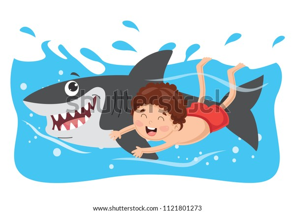 Vector Illustration Of Kid Swimming With Shark