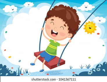 Vector Illustration of Kid Swinging