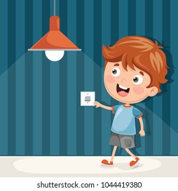 Vector Illustration Of Kid Turning On The Light