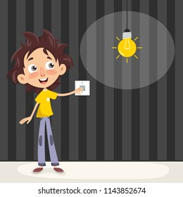 Vector Illustration Of A Kid Turning On The Light
