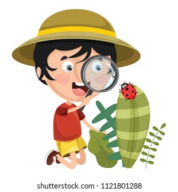 Vector Illustration Of Kid Using Magnifier
