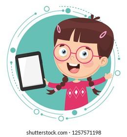 Happy Girl Tablet Stock Vectors, Images & Vector Art