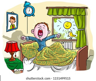 Vector illustration, kid waking up in the morning, cartoon concept.