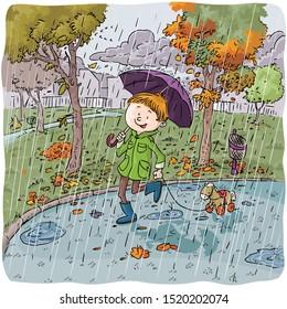 Vector illustration, kid walking in park, on a rainy day, cartoon concept.