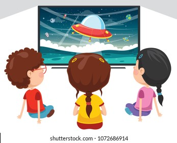 Vector Illustration Of Kid Watching Tv