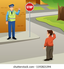 A vector illustration of Kid Waving Hello to a Policeman