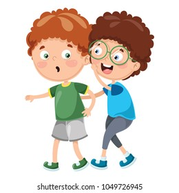 Vector Illustration Of Kid Whispering