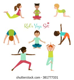 Vector illustration of kid yoga collection. Yoga poses of child. Cute poster.
