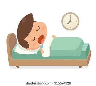 Vector. Illustration. Kid's activity. A boy sleep in the bed and a clock on the wall. Bedtime.