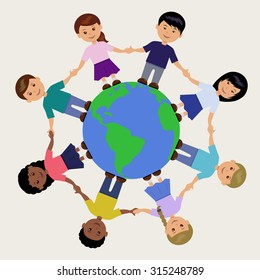 Vector illustration of kids around the Earth