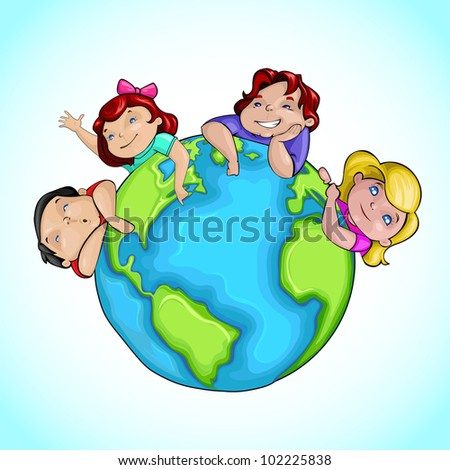 Vector Illustration Of Kids Around Earth Showing Friendship