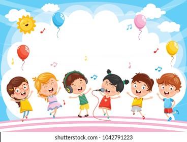Vector Illustration Of Kids Background