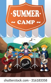 A vector illustration of kids in a band summer camp flyer
