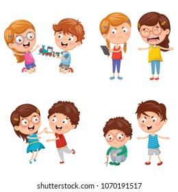 Vector Illustration Of Kids Behaviours