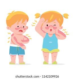 vector illustration kids, boy and girl sick got sunburn on their body in hot summer day