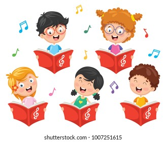 Vector Illustration Of Kids Choir
