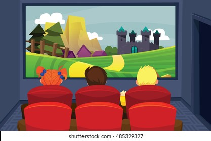 vector illustration of kids in the cinema