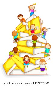 vector illustration of kids climbing in stack of book