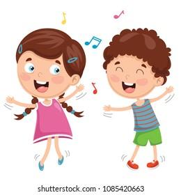 Vector Illustration Of Kids Dancing