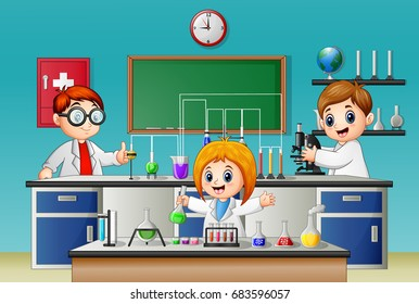 Vector illustration of Kids doing chemical experiment in the lab