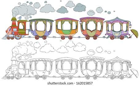 vector illustration world kids train cartoon のベクター画像素材