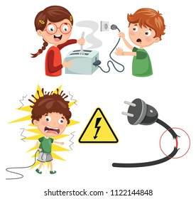 Vector Illustration Of Kids Electric Shock