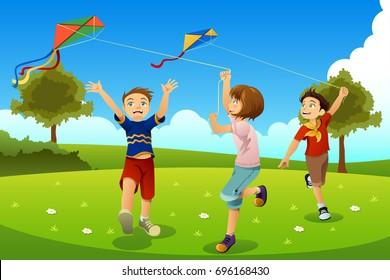 A vector illustration of Kids Flying Kites in a Park
