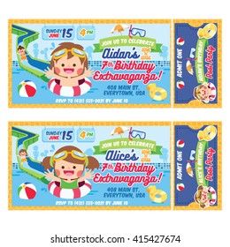 A Vector Illustration Kids fun in pool. Ticket invitation birthday. Water Party.