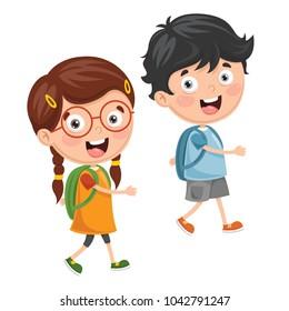 Vector Illustration Of Kids Going To School