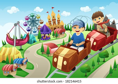A vector illustration of kids having fun in an amusement park