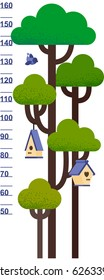 Vector illustration of kids height chart with tree and nesting box. Meter wall or baby scale of growth in flat style