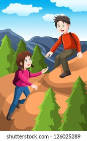 A vector illustration of kids hiking in the forest