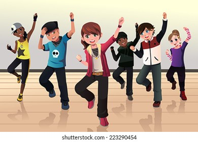 A vector illustration of kids in hip hop dance class
