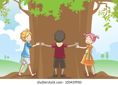 A vector illustration of kids hugging a tree showing a concept of loving environment