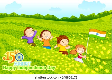 vector illustration of kids with Indian flag in crop field