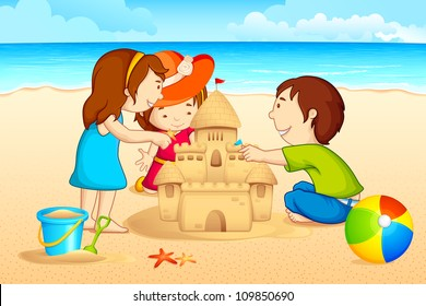 vector illustration of kids making sand castle on sea beach
