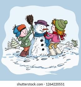 Vector illustration, kids making a snowman, cartoon concept.