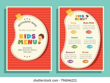 Vector Illustration Of Kids Menu Template