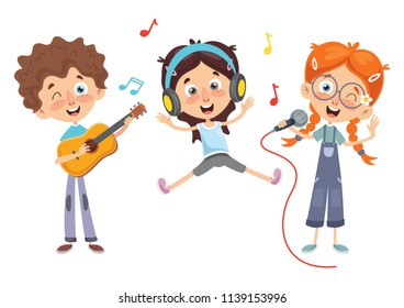 Vector Illustration Of Kids Music