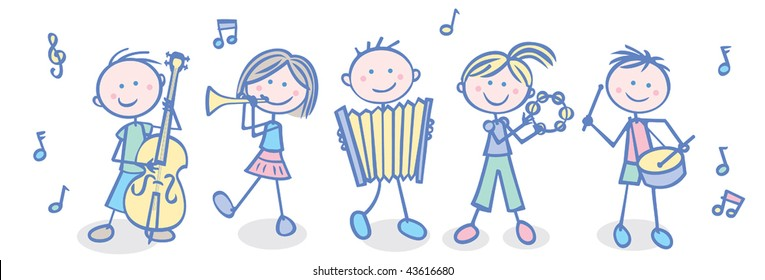 Vector illustration  of a kids' music band.