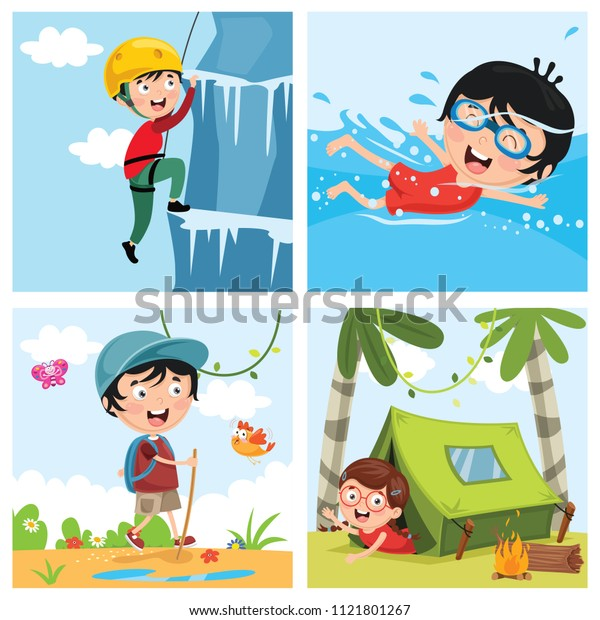 Vector Illustration Of Kids At Nature
