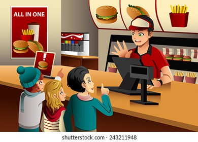 A vector illustration of kids ordering food at a fast food restaurant