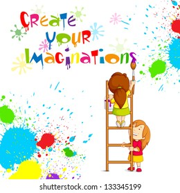 vector illustration of kids painting competition poster