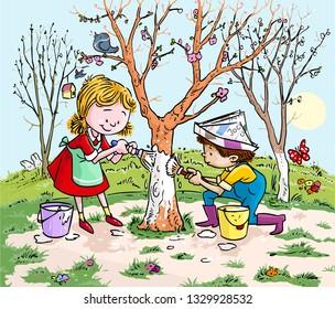 Vector illustration, kids painting tree, cartoon concept.