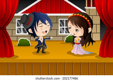 A vector illustration of kids performing on a stage