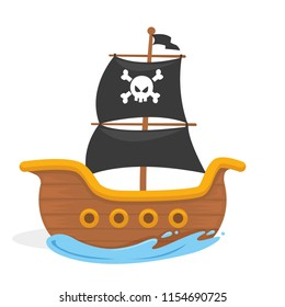 Vector illustration of kids pirate ship in the ocean