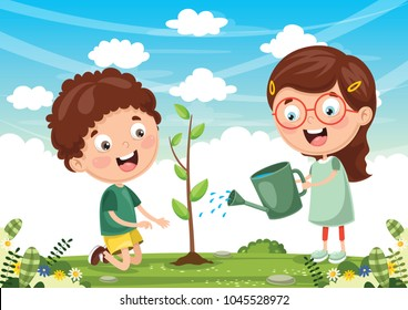 Vector Illustration Of Kids Planting