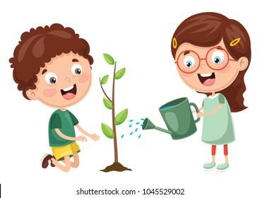 Vector Illustration Of Kids Planting