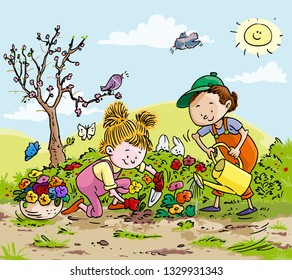 Vector illustration, kids planting flowers, cartoon concept.